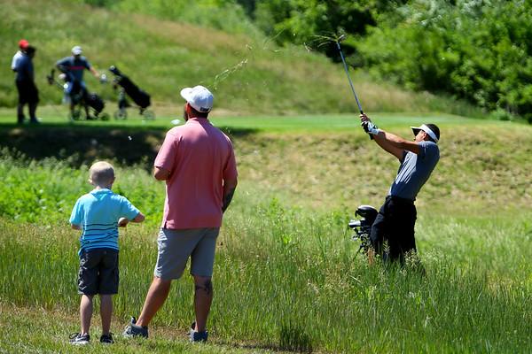 Sectional Golf at Rock Hollow in Peru on June 4, 2018.<br /> Michael Bolyard chipping onto the 4th green.<br /> Tim Bath | Kokomo Tribune