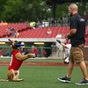 Navi, a belgian malinois, entertains fans at the Kokomo Municipal Stadium in between innings as he takes orders from owner and trainer Chris Altherr on June 19.<br /> Kelly Lafferty Gerber | Kokomo Tribune