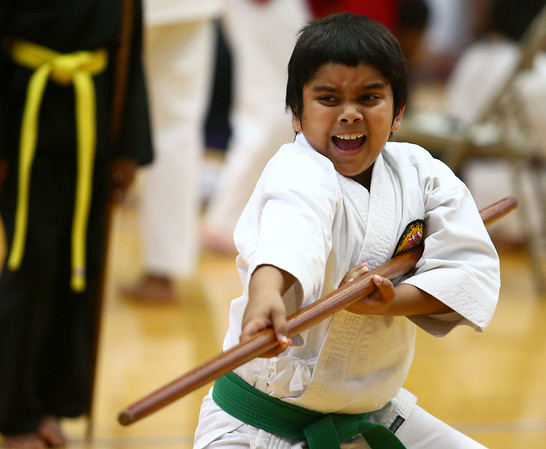Jeet Jayesh Patel, 8, competes in the karate tournament during the Haynes Apperson Sports Festival on Saturday, June 30, 2018.<br /> Kelly Lafferty Gerber   Kokomo Tribune