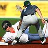 6-20-18<br /> Jackrabbits vs Dans<br /> Jackrabbits' Ian Walters is called out at second.<br /> Kelly Lafferty Gerber | Kokomo Tribune