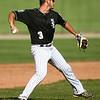 6-13-18<br /> Post Six baseball vs Napoleon<br /> Noah Hurlock throws to first for an out.<br /> Kelly Lafferty Gerber | Kokomo Tribune
