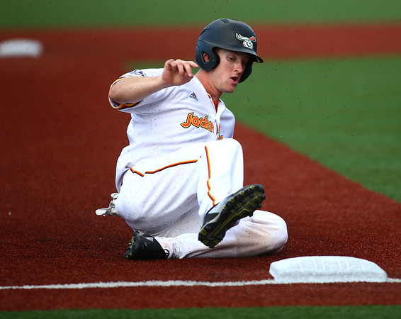 6-27-18<br /> Jackrabbits vs Aviators<br /> Ian Walters slides to third.<br /> Kelly Lafferty Gerber | Kokomo Tribune