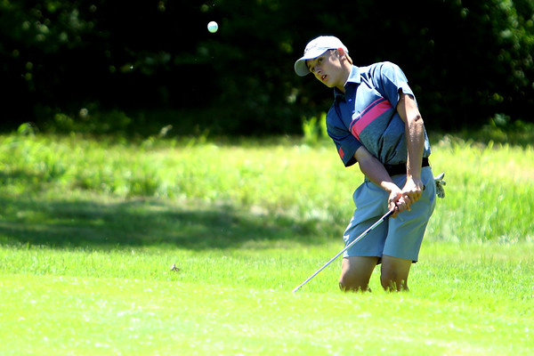 Sectional Golf at Rock Hollow in Peru on June 4, 2018.<br /> Western's Kyle Sanders chipping onto the 5th green.<br /> Tim Bath | Kokomo Tribune