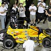 Don Knight | The Herald Bulletin<br /> Kody Swanson reactes after winning the Pay Less Little 500 on Saturday.