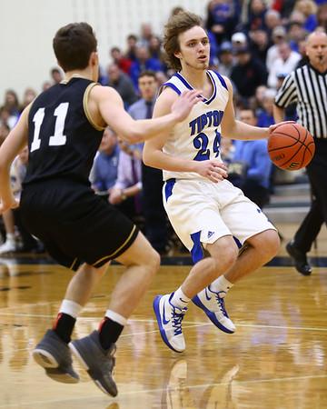 3-10-18<br /> Tipton vs Covington boys basketball regional semi-final<br /> Carson Dolezal takes the ball down the court.<br /> Kelly Lafferty Gerber | Kokomo Tribune