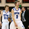 3-3-18<br /> Tipton vs Eastbrook sectional<br /> Tipton's Alec Weddell cheers as he walks back to the bench during a time out.<br /> Kelly Lafferty Gerber | Kokomo Tribune