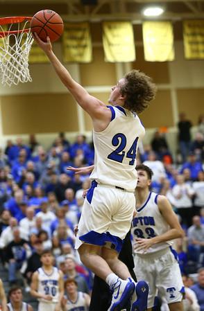 3-10-18<br /> Tipton vs Covington boys basketball regional semi-final<br /> Carson Dolezal heads to the basket.<br /> Kelly Lafferty Gerber | Kokomo Tribune