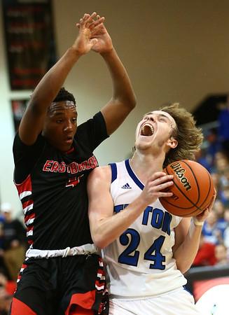 3-3-18<br /> Tipton vs Eastbrook sectional<br /> Tipton's Carson Dolezal heads to the basket.<br /> Kelly Lafferty Gerber | Kokomo Tribune