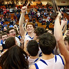 3-3-18<br /> Tipton vs Eastbrook sectional<br /> Tipton's Luke Stoker, center, cheers with his teammates and the Tipton student section after Tipton wins the sectional championship.<br /> Kelly Lafferty Gerber | Kokomo Tribune