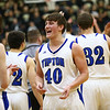 3-10-18<br /> Tipton vs Covington boys basketball regional semi-final<br /> Dylan Muse celebrates with teammates at the end of the game.<br /> Kelly Lafferty Gerber | Kokomo Tribune