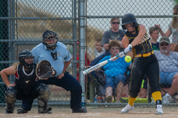 Panthers Alexis Robinson (10) connects with one for two bases in the Pioneer victory over North Miami on Saturday evening to capture the sectional championship. Fran Ruchalski | Pharos-Tribune