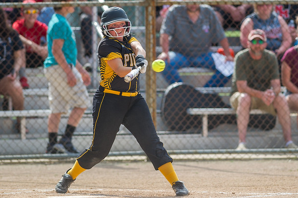 Panthers Bailey Zarse connects with one in the Pioneer victory over North Miami on Saturday evening to capture the sectional championship. Fran Ruchalski | Pharos-Tribune
