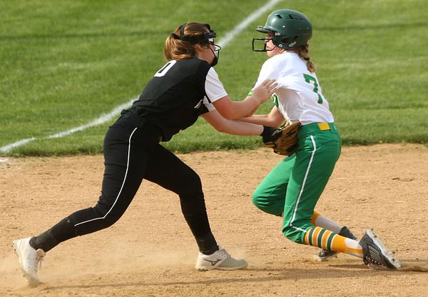 5-9-18<br /> Eastern vs Western softball<br /> Western's Sadie Harding tags Eastern's Emily Benson out as she runs to third.<br /> Kelly Lafferty Gerber | Kokomo Tribune