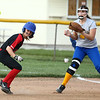 5-10-18<br /> Taylor vs TC softball<br /> Taylor's Shelby Ward is caught between first and second, but makes to second safe.<br /> Kelly Lafferty Gerber | Kokomo Tribune