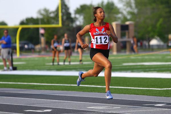 Regional Girls Track on May 22, 2018. <br /> Kokomo's Tionna Brown running the 100 meter trials.<br /> Tim Bath   Kokomo Tribune