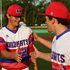 5-25-18<br /> Kokomo vs Harrison baseball<br /> Nate Hemmerich is congratulated by teammates after throwing to home for the third out of the last inning.<br /> Kelly Lafferty Gerber | Kokomo Tribune