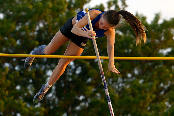 Regional Girls Track on May 22, 2018. <br /> Tipton's Taylor Pierce vaulting.<br /> Tim Bath | Kokomo Tribune