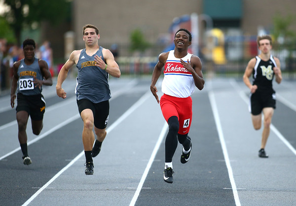 5-17-18<br /> Boys track and field sectional<br /> Kokomo's Steven Edwards in the 200 meter dash.<br /> Kelly Lafferty Gerber | Kokomo Tribune
