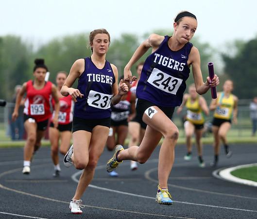 5-15-18<br /> Girls track and field sectional<br /> NW's Makala Pfefferkorn in the 4x100 relay.<br /> Kelly Lafferty Gerber   Kokomo Tribune