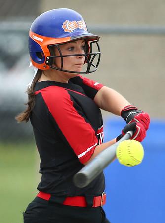 5-3-18<br /> Taylor vs Carroll softball<br /> Jada Critchlow bats.<br /> Kelly Lafferty Gerber | Kokomo Tribune