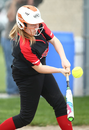 5-3-18<br /> Taylor vs Carroll softball<br /> Justice Isaacs bats.<br /> Kelly Lafferty Gerber   Kokomo Tribune