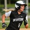 5-9-18<br /> Eastern vs Western softball<br /> Western's Tori Turner runs to third.<br /> Kelly Lafferty Gerber | Kokomo Tribune