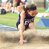 Regional Girls Track on May 22, 2018. <br /> Northwestern's Makala Pfefferkorn jumping in long jump.<br /> <br /> Tim Bath | Kokomo Tribune