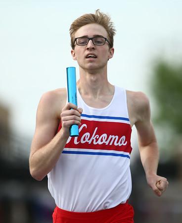 5-17-18<br /> Boys track and field sectional<br /> Kokomo's Justin Taflinger in the 4x800 relay.<br /> Kelly Lafferty Gerber   Kokomo Tribune