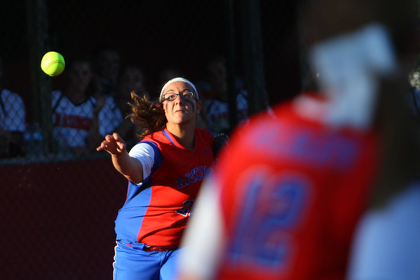 Kokomo looses the sectional finals to Harrison HS in Logansport on May 24, 2018. Sara Stonebraker throws for the second out of the 7th inning.<br /> Tim Bath | Kokomo Tribune