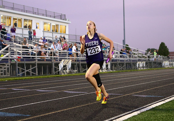 5-15-18<br /> Girls track and field sectional<br /> NW's Joan Easter finishes the last leg of the 4x400 relay and NW gets first.<br /> Kelly Lafferty Gerber | Kokomo Tribune
