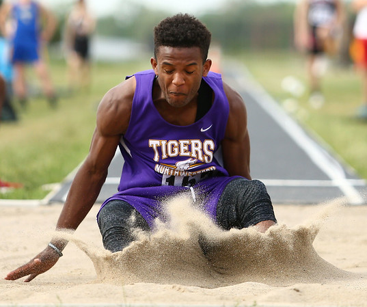 5-17-18<br /> Boys track and field sectional<br /> NW's Tayson Parker in the long jump.<br /> Kelly Lafferty Gerber | Kokomo Tribune