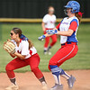 5-16-18<br /> Kokomo vs Cass softball<br /> Kokomo's Savannah Emmons is safe at second before Brannyn Spencer can make the catch.<br /> Kelly Lafferty Gerber | Kokomo Tribune