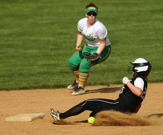 5-9-18<br /> Eastern vs Western softball<br /> Western's Chase Epp slides safely to second.<br /> Kelly Lafferty Gerber | Kokomo Tribune