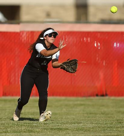5-24-18<br /> Western vs Twin Lakes softball<br /> Gabi King makes the catch for an out.<br /> Kelly Lafferty Gerber | Kokomo Tribune