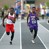 5-17-18<br /> Boys track and field sectional<br /> Kokomo's Steven Edwards and NW's Tayson Parker in the 100 meter dash finals.<br /> Kelly Lafferty Gerber | Kokomo Tribune