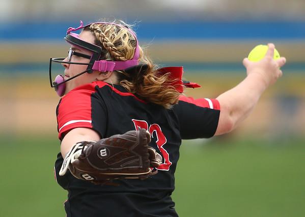 5-3-18<br /> Taylor vs Carroll softball<br /> Brooklyn Meador pitches.<br /> Kelly Lafferty Gerber | Kokomo Tribune