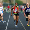 5-15-18<br /> Girls track and field sectional<br /> Kokomo's Tionna Brown in the 100 meter dash finals after an injury in long jump.<br /> Kelly Lafferty Gerber   Kokomo Tribune