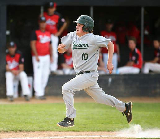 5-1-18<br /> Taylor vs Eastern baseball<br /> Eastern's Logan Smith sprints to home in the seventh inning.<br /> Kelly Lafferty Gerber | Kokomo Tribune