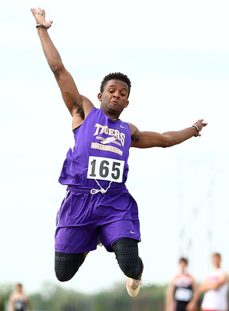 5-17-18<br /> Boys track and field sectional<br /> NW's Tayson Parker in the long jump.<br /> Kelly Lafferty Gerber   Kokomo Tribune