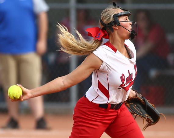 5-16-18<br /> Kokomo vs Cass softball<br /> Cass' Jacey Grimm pitches.<br /> Kelly Lafferty Gerber | Kokomo Tribune