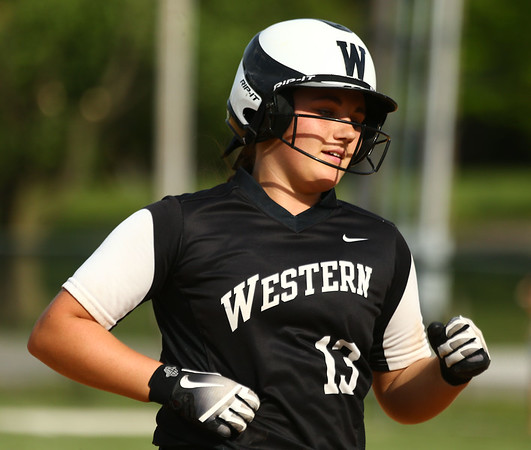 5-9-18<br /> Eastern vs Western softball<br /> Western's Kinsey Smith heads to third after hitting a home run.<br /> Kelly Lafferty Gerber | Kokomo Tribune