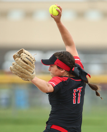 5-3-18<br /> Taylor vs Carroll softball<br /> Shaelah Eliason pitches.<br /> Kelly Lafferty Gerber | Kokomo Tribune