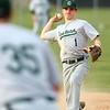 5-1-18<br /> Taylor vs Eastern baseball<br /> Eastern's Matt Arcari throws to first for an out.<br /> Kelly Lafferty Gerber | Kokomo Tribune