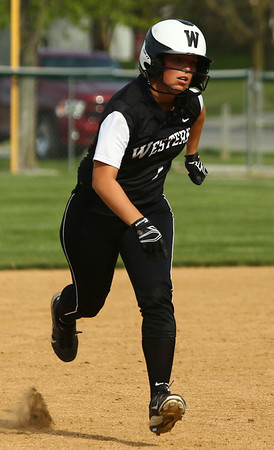 5-9-18<br /> Eastern vs Western softball<br /> Western's Carlie Ritchie heads to third base.<br /> Kelly Lafferty Gerber   Kokomo Tribune