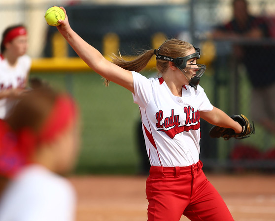 5-16-18<br /> Kokomo vs Cass softball<br /> Cass' Olivia Packard pitches.<br /> Kelly Lafferty Gerber | Kokomo Tribune