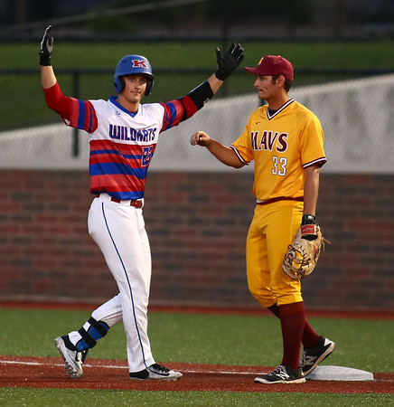 5-23-18<br /> Kokomo vs McCutcheon baseball<br /> Jack Perkins gets pumped up after making the first hit for the Wildkats.<br /> Kelly Lafferty Gerber | Kokomo Tribune