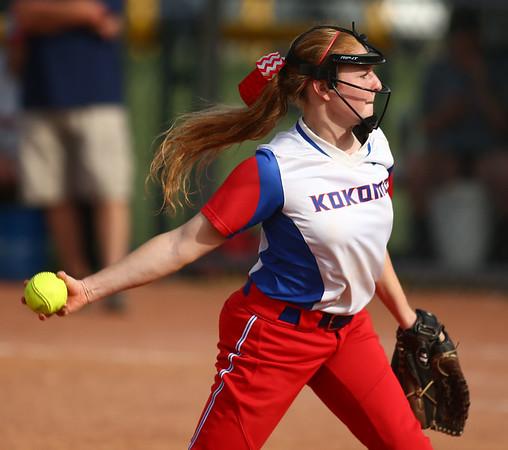 5-16-18<br /> Kokomo vs Cass softball<br /> Kokomo's Ellie Trine pitches.<br /> Kelly Lafferty Gerber | Kokomo Tribune