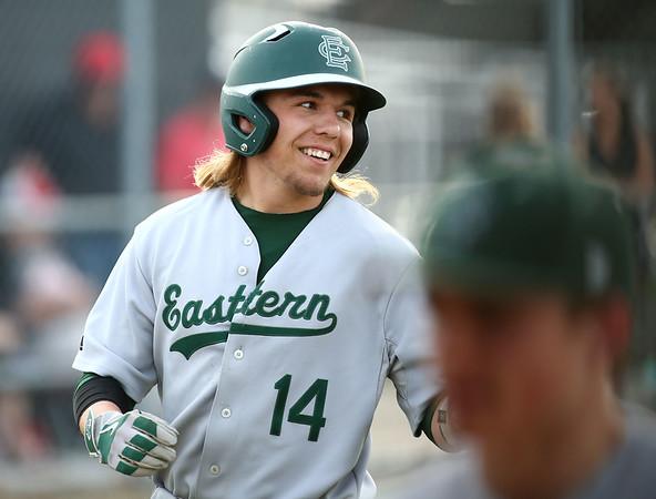 5-1-18<br /> Taylor vs Eastern baseball<br /> Eastern's Eli Elkins grins as he heads back to the dugout after hitting a homerun.<br /> Kelly Lafferty Gerber   Kokomo Tribune