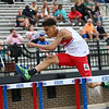 5-17-18<br /> Boys track and field sectional<br /> Kokomo's Quincy Armstrong in the 300 meter hurdles.<br /> Kelly Lafferty Gerber | Kokomo Tribune