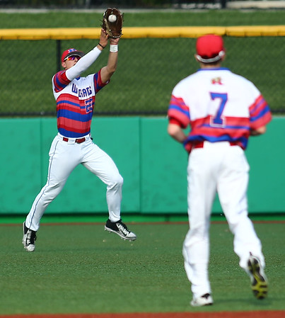 5-25-18<br /> Kokomo vs Harrison baseball<br /> Jack Perkins makes a catch in the outfield for an out.<br /> Kelly Lafferty Gerber | Kokomo Tribune